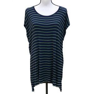 CAbi Oversize Stripe Sleeveless T-Shirt Navy Green